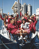Tracy Edwards MBE [white shirt] and crew pictured on board Maiden in Uruguay following the first leg of the Whitbread race in 1989.<br /> <br /> Tracy Edwards MBE and crew have been reunited with Maiden 27 years after sailing into the history books. Maiden and her all-female crew competed in the Whitbread Round The World Race in 1989/90 winning two legs and coming second overall. Over the next 12 months, Maiden will be restored in Hamble near Southampton. She will then sail around the world as an ambassador for the Maiden Factor, to promote access to education for girls.<br /> Picture date: Monday April 24, 2017.<br /> Photograph by Christopher Ison &copy; Empics<br /> 07544044177<br /> chris@christopherison.com<br /> www.christopherison.com