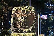 Eagle emblem on a wall bordering the entrance to San Francisco's Presidio