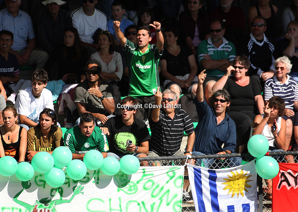 Manawatu fans vent their anger at referee Chris Kerr after having two players red carded.<br /> NZFC Championship - Youngheart Manawatu v Auckland City at Memorial Park, Palmerston North. Sunday, 15 March 2009. Photo: Dave Lintott/PHOTOSPORT