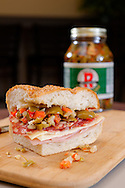 Photograph of Rouses Markets' own muffeletta, the famous New Orleans sandwich.