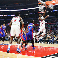 07 November 2016: Los Angeles Clippers forward Luc Richard Mbah a Moute (12) goes for the layup during the LA Clippers 114-82 victory over the Detroit Pistons, at the Staples Center, Los Angeles, California, USA.