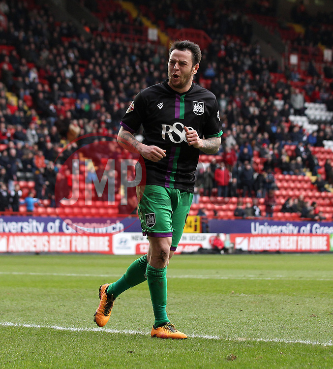 Lee Tomlin of Bristol City celebrates scoring from the penalty spot - Mandatory byline: Robbie Stephenson/JMP - 06/02/2016 - FOOTBALL - The Valley - Charlton, England - Charlton Athletic v Bristol City - Sky Bet Championship