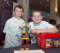 Conor Mannion, Michael Kennedy from Lawerencestown NS at the Medtronic Community Event , comprising of projects about Healthy Living and the heart, KNEX finals and Lean Sigma catapult competition organised by the Galway Education Centre at the Radisson Blu Hotel Galway. Photo:Andrew Downes.