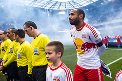 HARRISON, NJ - MARCH 16: Thierry Henry #14 of New York Red Bulls stands for the National Anthem prior to the game against the D.C. United at Red Bulls Arena on March 16, 2013. (Photo By: Rob Tringali)