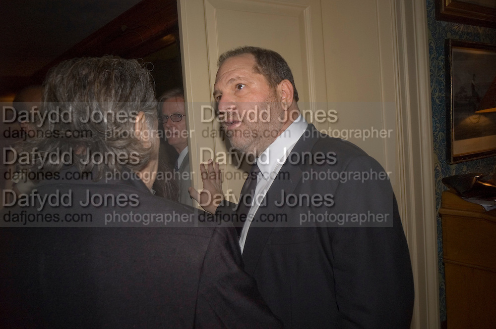 HARVEY WEINSTEIN, Pre Bafta dinner hosted by Charles Finch and Chanel. Mark's Club. Charles St. London. 9 February 2008.  *** Local Caption *** -DO NOT ARCHIVE-© Copyright Photograph by Dafydd Jones. 248 Clapham Rd. London SW9 0PZ. Tel 0207 820 0771. www.dafjones.com.