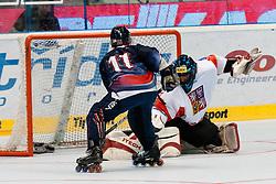 Rafael Rodriguez of USA vs Roman Handl of Czech Republic at IIHF In-Line Hockey World Championships 2011 Top Division Gold medal game between National teams of Czech republic and USA on June 25, 2011, in Pardubice, Czech Republic. (Photo by Matic Klansek Velej / Sportida)