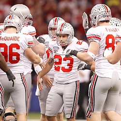 January 4, 2011; New Orleans, LA, USA;  Ohio State Buckeyes kicker Devin Barclay (23) celebrates with teammates after a field goal during the third quarter of the 2011 Sugar Bowl against the Arkansas Razorbacks at the Louisiana Superdome.  Mandatory Credit: Derick E. Hingle