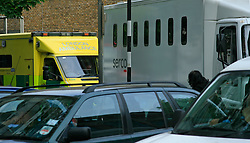 © London News Pictures 05/05/2011. A London Ambulance and Serco Prison van are trapped within the congestion...The A501 Euston Road Underpass is closed westbound due to an traffic incident. 05/05/2011  Westbound traffic at Euston Underpass is being diverted via Gower Street causing heavy congestion around the surrounding roads. A white box van involved in the incident remains on the westbound lane of the Euston Underpass, both westbound entrance and exit ramps are covered with fuel or oil, the underpass remains closed. Photo Credit should read: Simon Lamrock/LNP