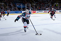 KELOWNA, CANADA - MARCH 14:  Cal Foote #25 of the Kelowna Rockets skates with the puck against the Prince George Cougars on March 14, 2018 at Prospera Place in Kelowna, British Columbia, Canada.  (Photo by Marissa Baecker/Shoot the Breeze)  *** Local Caption ***