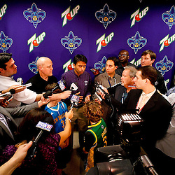 December 22, 2010; New Orleans, LA, USA; Louisiana governor Bobby Jindal and New Orleans mayor Mitch Landrieu hold a press conference to discuss support for the New Orleans Hornets during halftime of a game against the New Jersey Nets at the New Orleans Arena.  Mandatory Credit: Derick E. Hingle