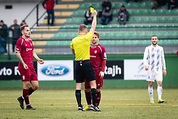 Yellow card for player of NK Triglav during football match between NŠ Mura and NK Triglav in 19th Round of Prva liga Telekom Slovenije 2018/19, on December 9, 2018 in Fazanerija, Murska Sobota, Slovenia. Photo by Blaž Weindorfer / Sportida