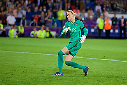 CARDIFF, WALES - Thursday, June 1, 2017: Paris Saint-Germain' Katarzyna Kiedrzynek misses her penalty during the penalty shoot out to lose 7-6 and hand Olympique Lyonnais the cup during the UEFA Women's Champions League Final between Olympique Lyonnais and Paris Saint-Germain FC at the Cardiff City Stadium. (Pic by David Rawcliffe/Propaganda)