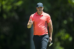 May 25, 2018 - Fort Worth, TX, USA - FORT WORTH, TX - MAY 25, 2018 - Brooks Koepka acknowledges the crowd on the 8th hole during the second round of the 2018 Fort Worth Invitational PGA at Colonial Country Club in Fort Worth, Texas (Credit Image: © Erich Schlegel via ZUMA Wire)