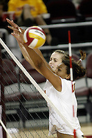 11 October 2008: Pac-10 Women's Volleyball No. 10 ranked Washington Huskies snaps No. 11 USC's Women of Troy Home Winning streak at 32 during a 3 sets to 2 set win for the Huskies who hit .409 in the final set to earn the five-set win at the Galen Center in Southern California, CA. #7 Alex Jupiter of Hermosa Beach, CA.