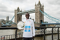 Eliud Kipchoge KEN the Men's winner of the Abbott World Marathon Majors Series XI at a photocall and press conference at the Guoman Tower Hotel for the winners of the Virgin Money London Marathon, 23 April 2018.<br /> <br /> Photo: Thomas Lovelock for Virgin Money London Marathon<br /> <br /> For further information: media@londonmarathonevents.co.uk