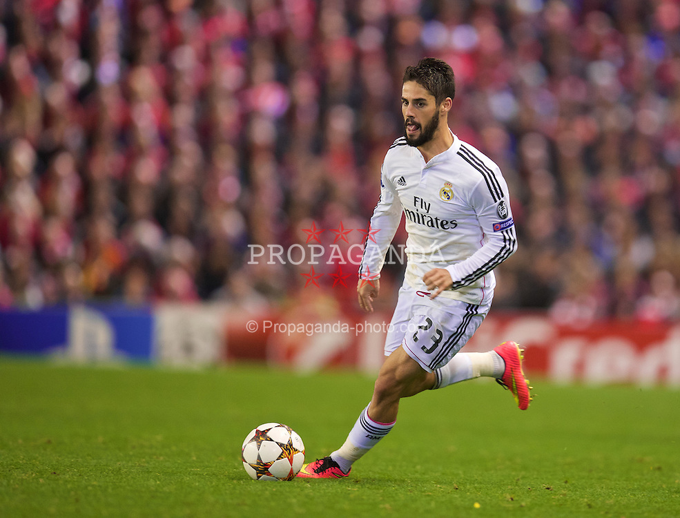 LIVERPOOL, ENGLAND - Wednesday, October 22, 2014: Real Madrid CF's Isco in action against Liverpool during the UEFA Champions League Group B match at Anfield. (Pic by David Rawcliffe/Propaganda)