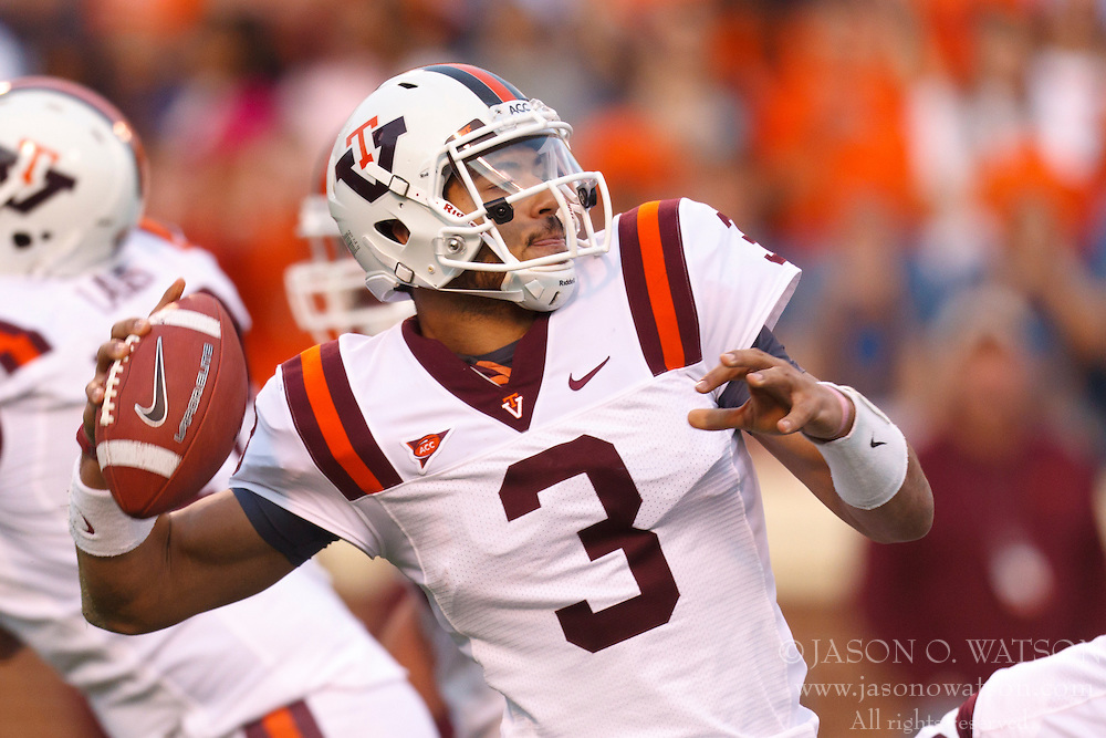 Nov 26, 2011; Charlottesville VA, USA;  Virginia Tech Hokies quarterback Logan Thomas (3) passes the ball against the Virginia Cavaliers during the second quarter at Scott Stadium.  Mandatory Credit: Jason O. Watson-US PRESSWIRE