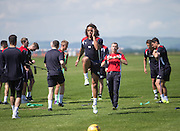 New boy Yordi Teijsse is tested by Dundee head fitness coach Tam Richie -  Dundee FC pre-season training at Dundee University Grounds, Riverside<br /> <br />  - &copy; David Young - www.davidyoungphoto.co.uk - email: davidyoungphoto@gmail.com