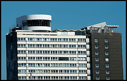 The controversial BBC studios above a block of flats overlooking the Olympic Park in Stratford, East London. Photo By i-Images