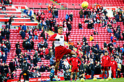 Liverpool forward Roberto Firmino (9) warming up during the Premier League match between Liverpool and Brighton and Hove Albion at Anfield, Liverpool, England on 30 November 2019.