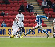 Dundee&rsquo;s James Vincent and St Johnstone&rsquo;s Murray Davidson - St Johnstone v Dundee, Ladbrokes Scottish Premiership at McDiarmid Park, Perth. Photo: David Young<br /> <br />  - &copy; David Young - www.davidyoungphoto.co.uk - email: davidyoungphoto@gmail.com