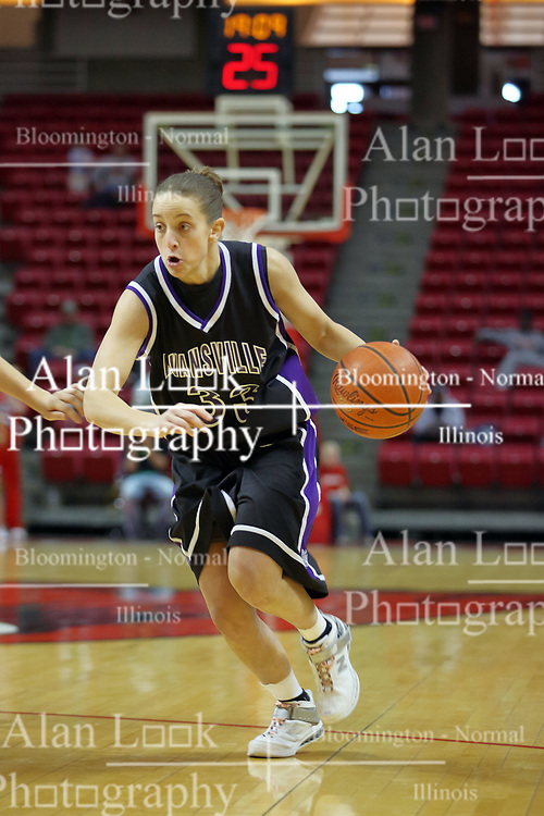 08 March 2008: Rebekah Parker. The University of Evansville Purple Aces and the Illinois State University Redbirds took the court looking for the MVC season title, but the Redbird win (87-72) split the title.  The game was played on Doug Collins Court in Redbird Arena in Normal Illinois.