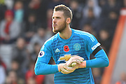 David De Gea (1) of Manchester United during the Premier League match between Bournemouth and Manchester United at the Vitality Stadium, Bournemouth, England on 3 November 2018.
