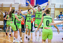 Annamaria Prezelj of Slovenia, Teja Oblak of Slovenia, Nika Baric of Slovenia, Eva Lisec of Slovenia, Ana Ljubenovic of Slovenia celebrate after winning and qualifying during basketball match between Women National Teams of Slovenia and Lithuania in Qualifications of EuroBasket Women 2017, on November 19, 2016 in Gimnazija Celje, Slovenia. Photo by Vid Ponikvar / Sportida