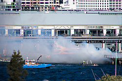 August 18, 2017 - Sydney, NSW, Australia - Sydney Port's fire-fighting tug 'Shirley Smith' was engaged to fight a fire at Pyrmont on Sydney Harbour. Cyclonic-strength winds batter NSW coast with winds on Sydney Harbour recorded over 100 km/hr. (Credit Image: © Hugh Peterswald/Pacific Press via ZUMA Wire)