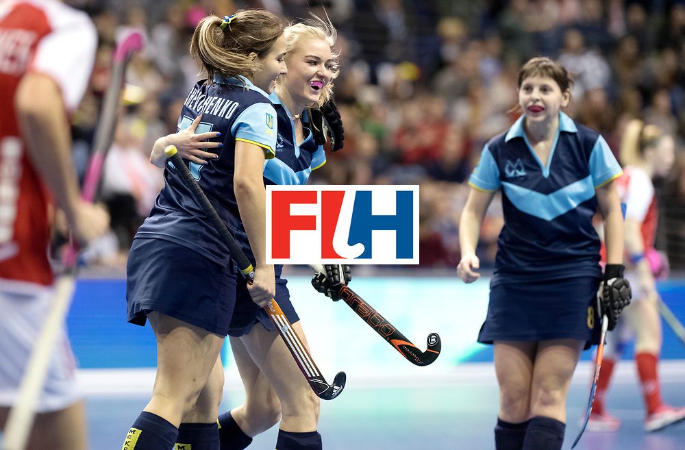 BERLIN - Indoor Hockey World Cup<br /> Quarterfinal 2: Ukraine - Switzerland<br /> foto: Ukraine celebrate.<br /> WORLDSPORTPICS COPYRIGHT FRANK UIJLENBROEK