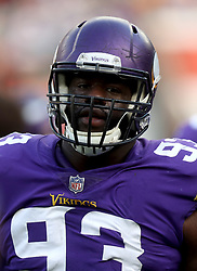 Minnesota Vikings' Shamar Stephen during warm-up before during the International Series NFL match at Twickenham, London. PRESS ASSOCIATION Photo. Picture date: Sunday October 29, 2017. See PA story GRIDIRON London. Photo credit should read: Simon Cooper/PA Wire. RESTRICTIONS: News and Editorial use only. Commercial/Non-Editorial use requires prior written permission from the NFL. Digital use subject to reasonable number restriction and no video simulation of game.