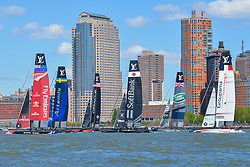 May 8, 2016 - New York, NY, United States - The six competitors head toward the starting line for the start of the second race. Six competitors for the Louis Vuitton America's Cup vied for standing in the Cup's World Series event in New York City, one of a series of racing events which determines the standings of each team for the upcoming championship race in Bermuda in 2017; Artemis Racing Team Sweden, Groupama Team France and Emirates Team New Zealand each won one of the races and the later was judged winner of the event based upon accumulated points. (Credit Image: © Albin Lohr-Jones/Pacific Press via ZUMA Wire)