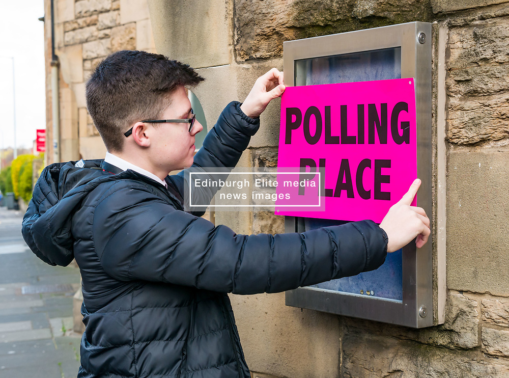 Pictured: Leith Walk Council By-Election, Leith Walk,  Edinburgh, Scotland, 10 April 2019. Pictured:  Leith Walk. The City of Edinburgh Council's elections team, prepare for the Leith Walk by-election. Council Officer Jake sets up for polling at one of the Ward polling stations at Pilrig St Paul's Church Hall and deliver the materials needed for the vote.  The by-election takes place on Thursday April 11.<br /> <br /> Sally Anderson | EdinburghElitemedia.co.uk