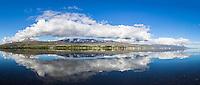 Panorama of Akureyri on a summer morning