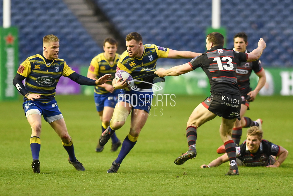 Owen Lake charges forward during the European Rugby Challenge Cup match between Edinburgh Rugby and Cardiff Blues at BT Murrayfield Stadium, Edinburgh, Scotland on 31 March 2018. Picture by Kevin Murray.