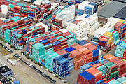 Nederland, Zuid-Holland, Rotterdam, 10-06-2015; Eemhaven met Seattleweg met depot voor verkoop en verhuur van containers en zeecontainers.<br /> Depot for sale and rental of containers and shipping containers.<br /> <br /> luchtfoto (toeslag op standard tarieven);<br /> aerial photo (additional fee required);<br /> copyright foto/photo Siebe Swart