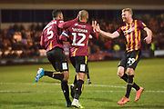 Bradford City forward James Vaughan celebrates his goal with team-mates during the EFL Sky Bet League 2 match between Macclesfield Town and Bradford City at Moss Rose, Macclesfield, United Kingdom on 30 November 2019.