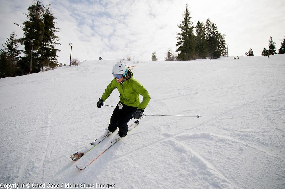 Bogus Basin Resort near Boise, Idaho. Model released skiers