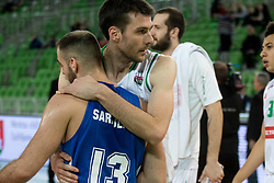Mirza Sarajlija of KK Rogaska and Igor Tratnik of Petrol Olimpija hugging after 2nd leg basketball match between KK Petrol Olimpija and KK Rogaska in quarter final of  Pokal SPAR 2018/19, on January 14, 2019 in Arena Stozice, Ljubljana, Slovenia. Photo by Matic Ritonja / Sportida