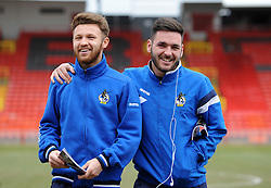 Bristol Rovers' Matty Taylor and Bristol Rovers' Jake Gosling - Photo mandatory by-line: Neil Brookman/JMP - Mobile: 07966 386802 - 28/02/2015 - SPORT - Football - Gateshead - Gateshead International Stadium - Gateshead v Bristol Rovers - Vanarama Football Conference