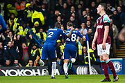 Chelsea (28) César Azpilicueta, celebrates after scoring goal during the Premier League match between Chelsea and West Ham United at Stamford Bridge, London, England on 8 April 2018. Picture by Sebastian Frej.