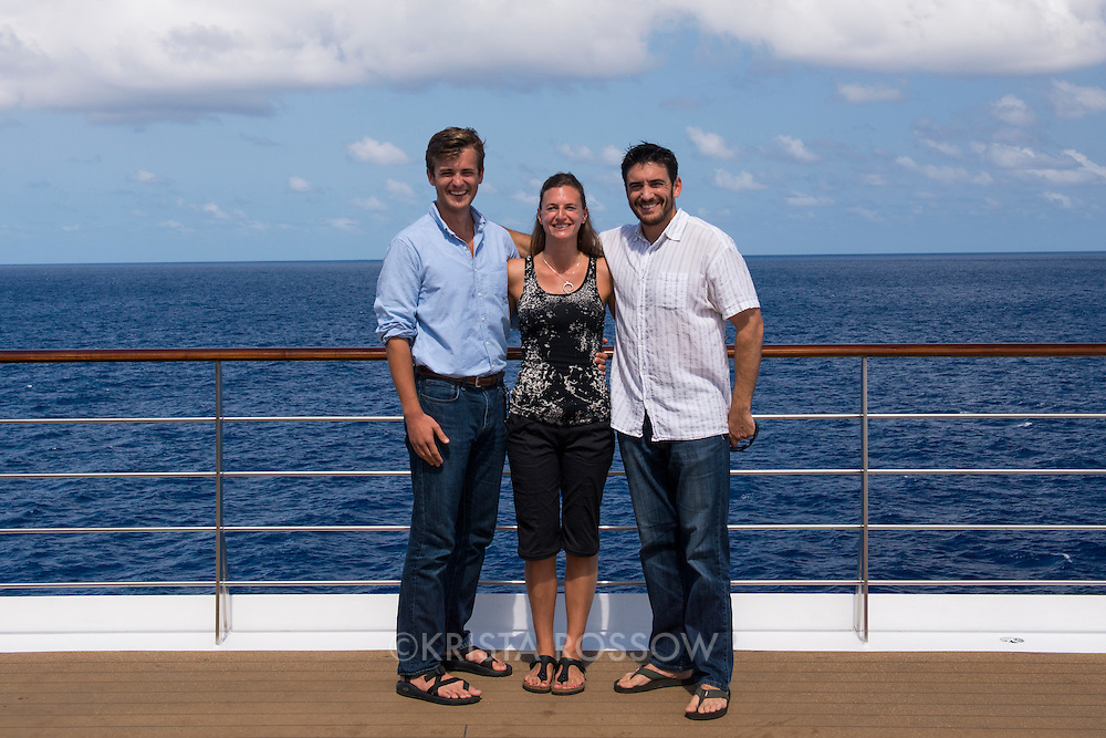 Communications team: Casey Hudetz, Krista Rossow, Nick Clement. Group photos from the Spring 2014 50th Anniversary voyage of Semester at Sea.