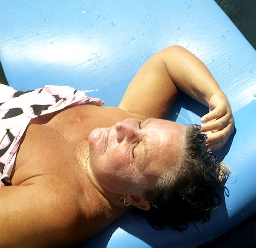 Mom Lying on a Pool Raft, Biddeford Pool, Maine, 2005