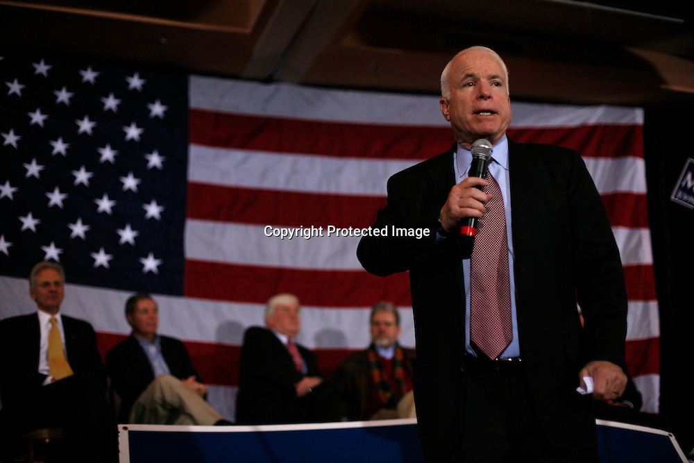 Republican presidential candidate U.S. Senator John McCain speaks to supporters during a campaign stop in Aiken, South Carolina January 17, 2008.
