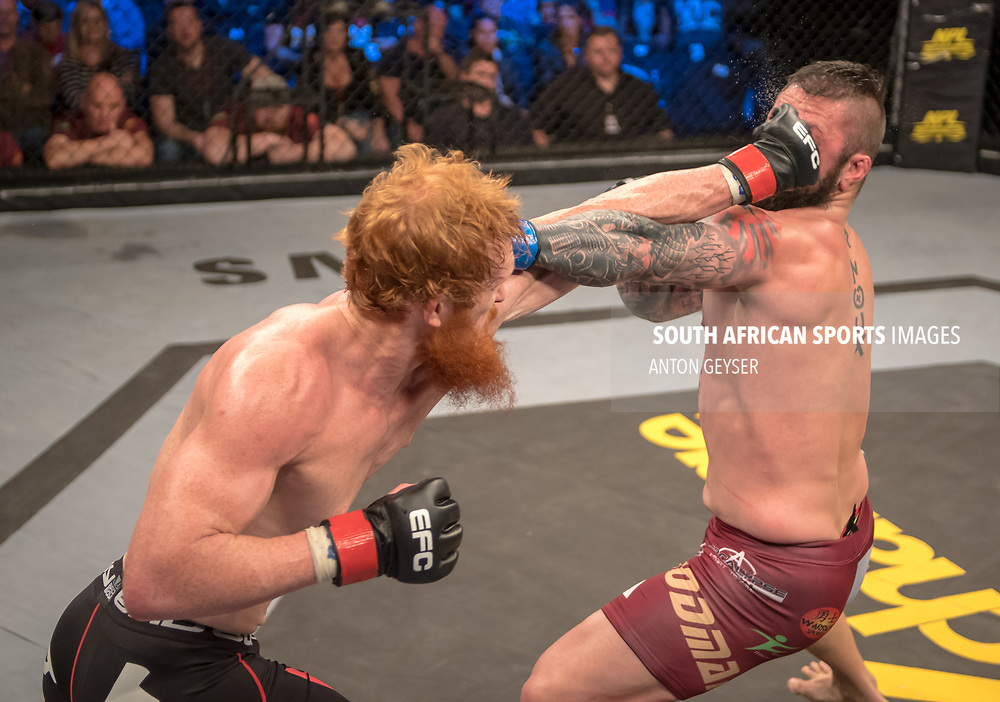 DURBAN, SOUTH AFRICA - JUNE 10: (R-L) Gordon Roodman and Cameron Meintjes from South Africa in action during the EFC 60 Fight Night at Sibaya Casino on June 10, 2017 in Durban, South Africa. (Photo by Anton Geyser/EFC Worldwide/Gallo Images)