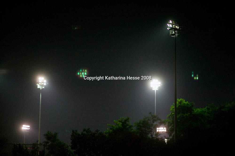 BEIJING, AUGUST 5 : an illuminated soccer field near the National Stadium.
