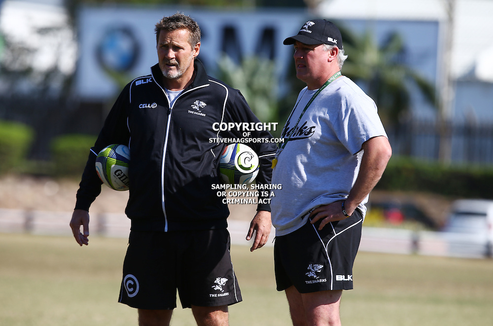 DURBAN, SOUTH AFRICA, 18,JULY, 2016 - Robert du Preez (Assistant Coach) of the Cell C Sharks with Gary Gold (Sharks Director of Rugby) during The Cell C Sharks training session at Growthpoint Kings Park in Durban, South Africa. (Photo by Steve Haag)<br /> <br /> images for social media must have consent from Steve Haag