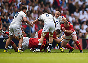 Wales defenders put in a big hit on England's Mike Brown during the The Old Mutual Wealth Cup match England -V- Wales at Twickenham Stadium, London, Greater London, England on Sunday, May 29, 2016. (Steve Flynn/Image of Sport)