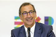 Giuseppe Sala, Sole Commissioner and CEO of Expo 2015, at the press conference &quot;August at Expo 2015&quot;, Rho-Pero, Milan on July 13, 2015. At the end of the press conference was signed a protocol agreement between INPS, Ferrovie dello Stato and Expo SpA fixing, for the month of August, the free entrance to Expo for low-income workers and retirees and 50% discount on train fares to reach Expo. &copy; Carlo Cerchioli<br /> Giuseppe Sala, Commissario unico e CEO di Expo 2015, alla conferenza stampa Agosto a Expo 2015, Rho-Pero, Milano 13 luglio 2015. Alla fine della conferenza stampa &egrave; stato firmato un protocollo d'intesa fra Inps, Ferrovie dello Stato e Expo spa che prevede l'ingresso a Expo gratuito per lavoratori a basso reddito e pensionati e sconti del 50% sulle tariffe ferroviarie per raggiungere Expo.