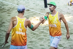 Nejc Zemljak of Slovenia and Jan Pokersnik of Slovenia at Beach Volleyball Challenge Ljubljana 2019, on August 4, 2019 in Kongresni trg, Ljubljana, Slovenia. Photo by Grega Valancic / Sportida